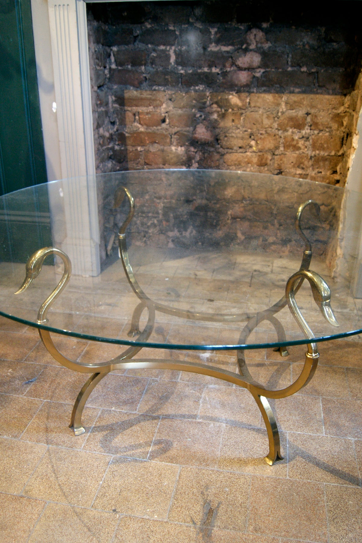 X Brass Swan Coffee Table with Glass Top