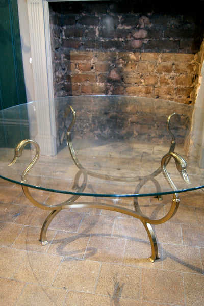 Brass Swan Coffee Table with Glass Top
