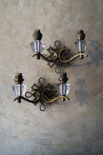 Rare Set of Four Jules Leleu Bronze Wall Lights circa 1930