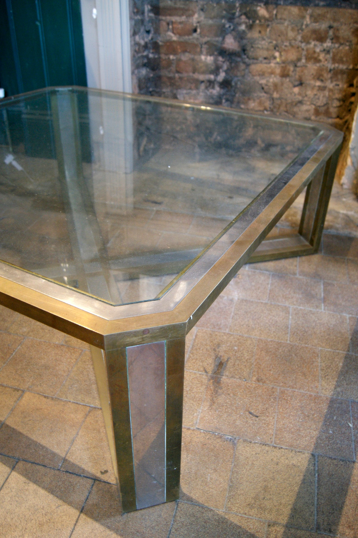Large Brass and Chrome Coffee Table
