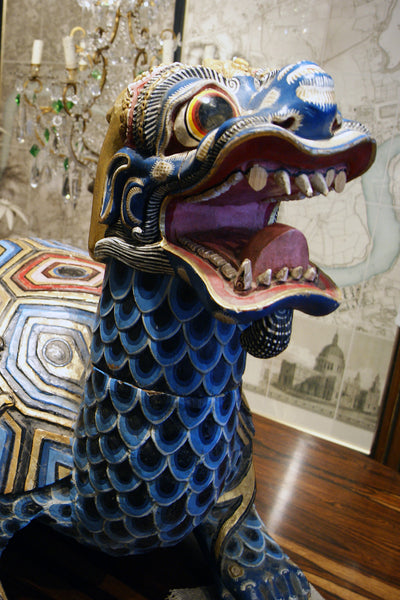 X A stunning pair of polychrome Chinese turtle dragons.