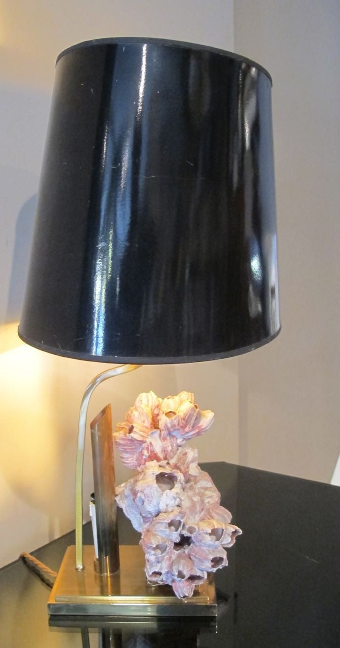 X French brass and coral side lamp in the manner of Willy Daro.