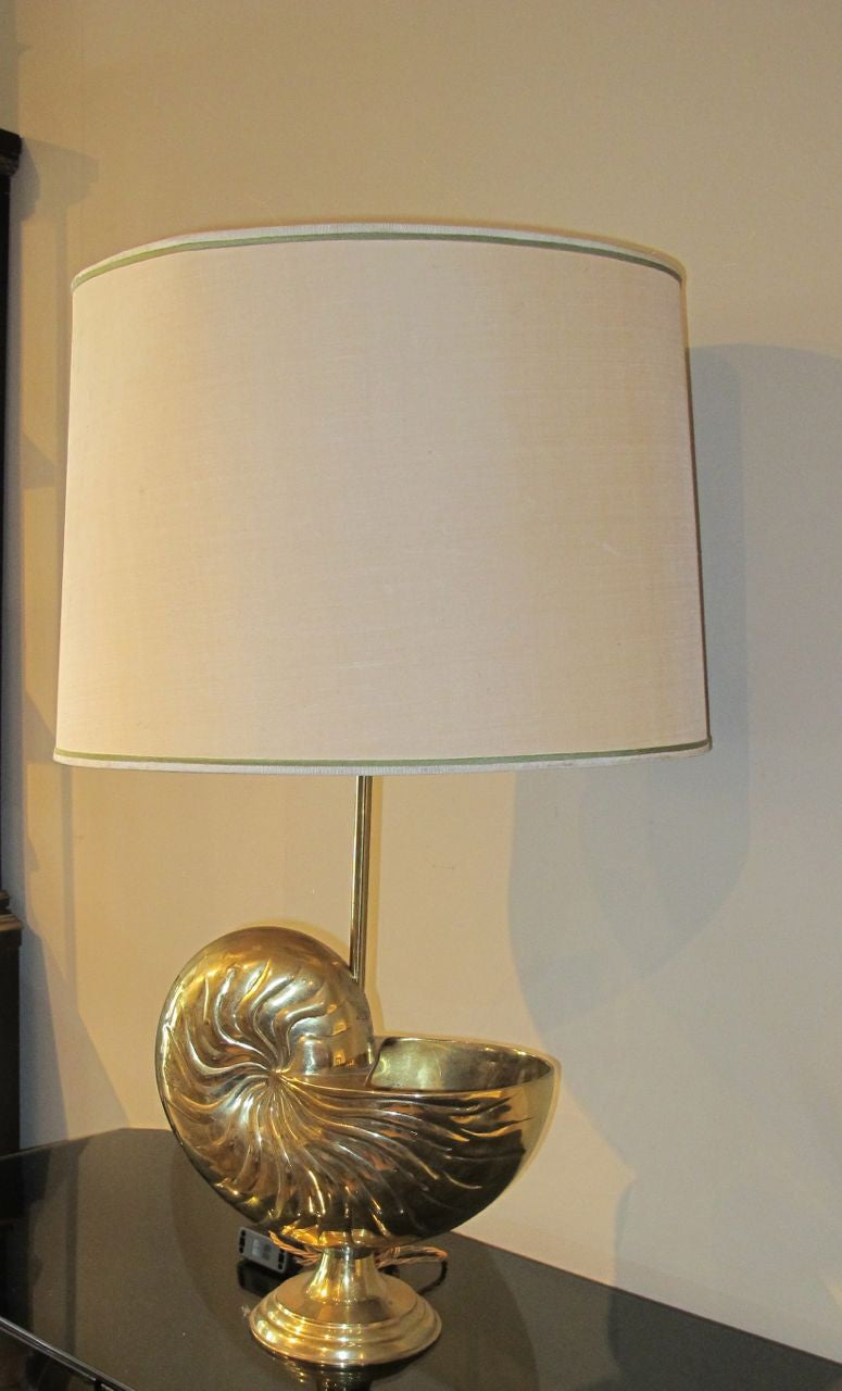 A large french brass lamp in the form of a Nautilus shell circa 1970.