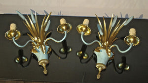 X A superb quality signed Maison Charles pair of bronze wall lights.