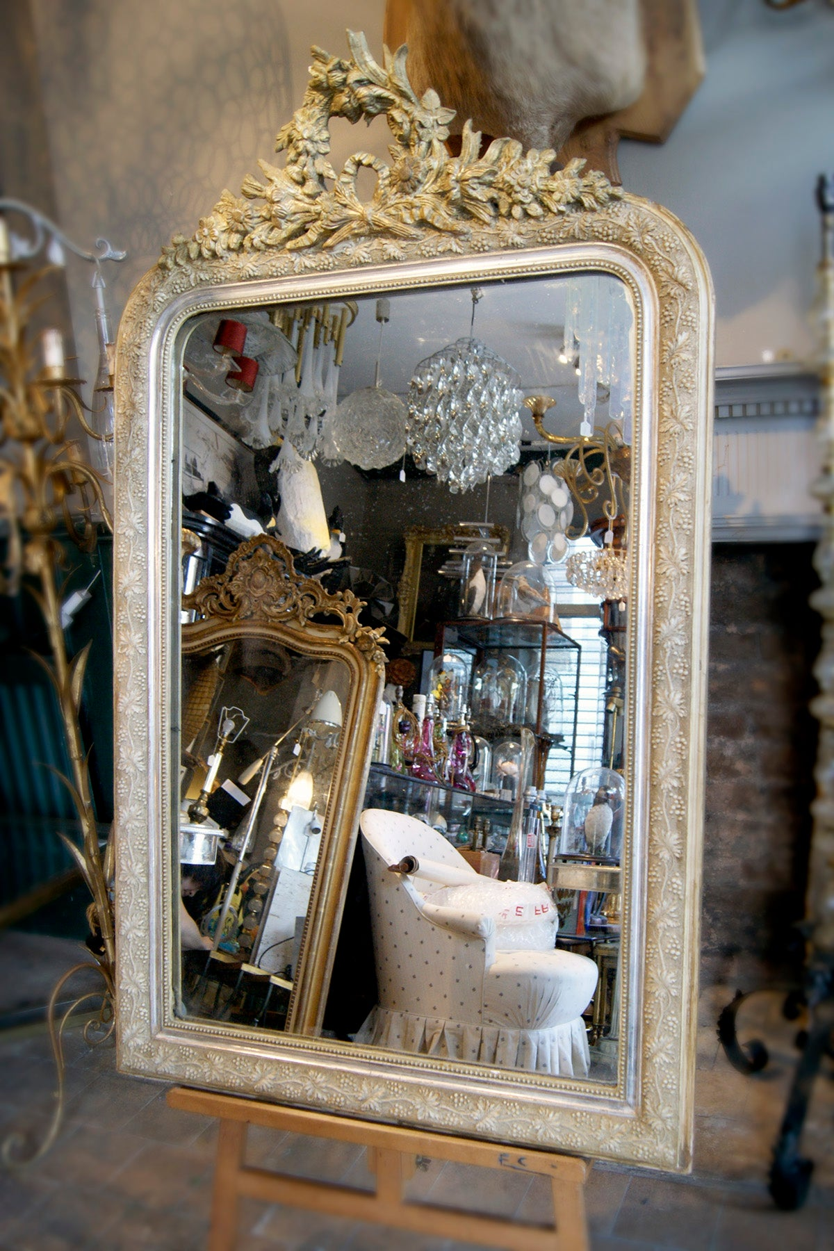 Ornately Carved Gold French Mirror