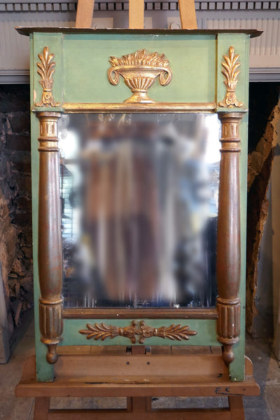 Decorative Italian Green and Parcel Gilt Mirror