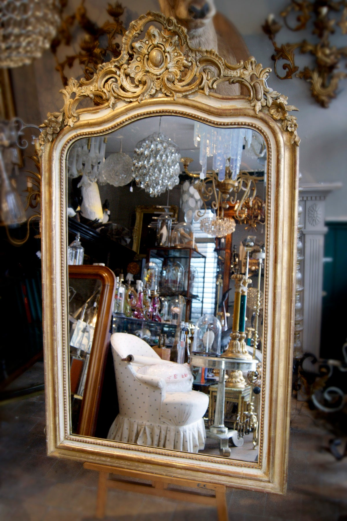 X Large Gold Ornate French Mirror