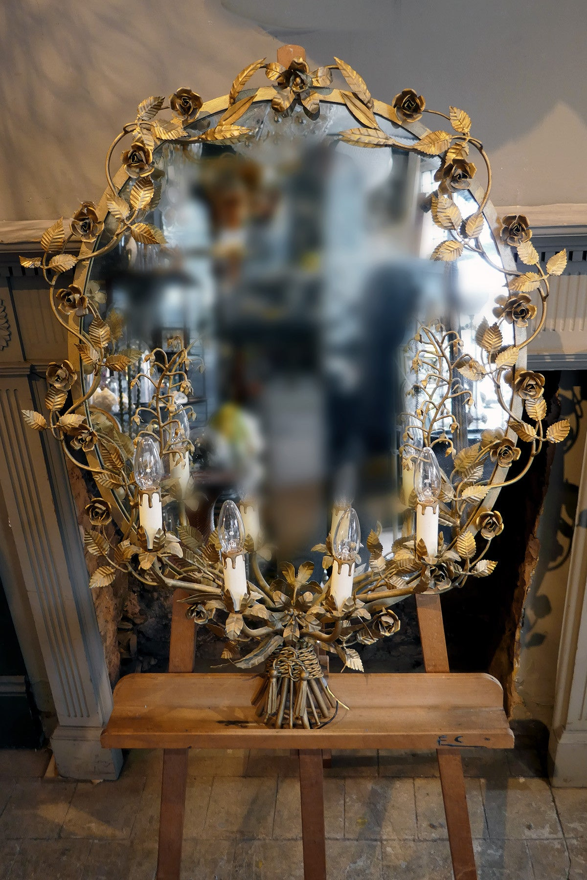 X Large French Iron Flower Mirror with Faux Candle Lighting