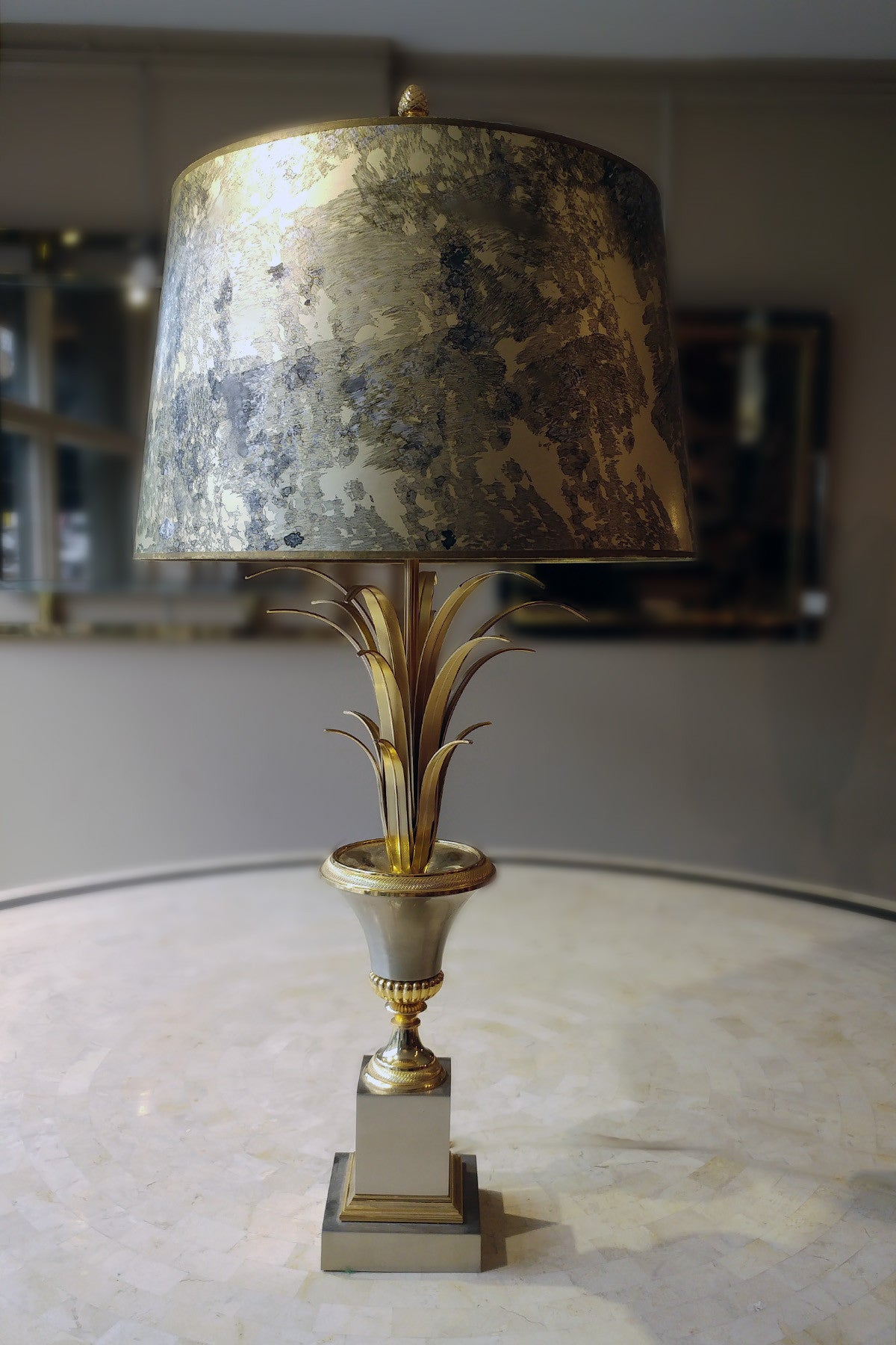 Floral Urn Lamp with Original Shade