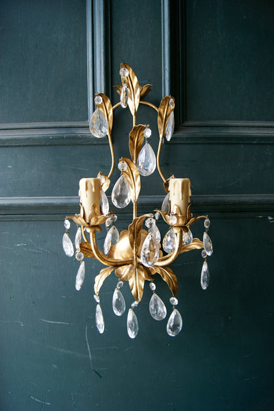 X Pair of Gold Gilt Glass Drop Wall Lights