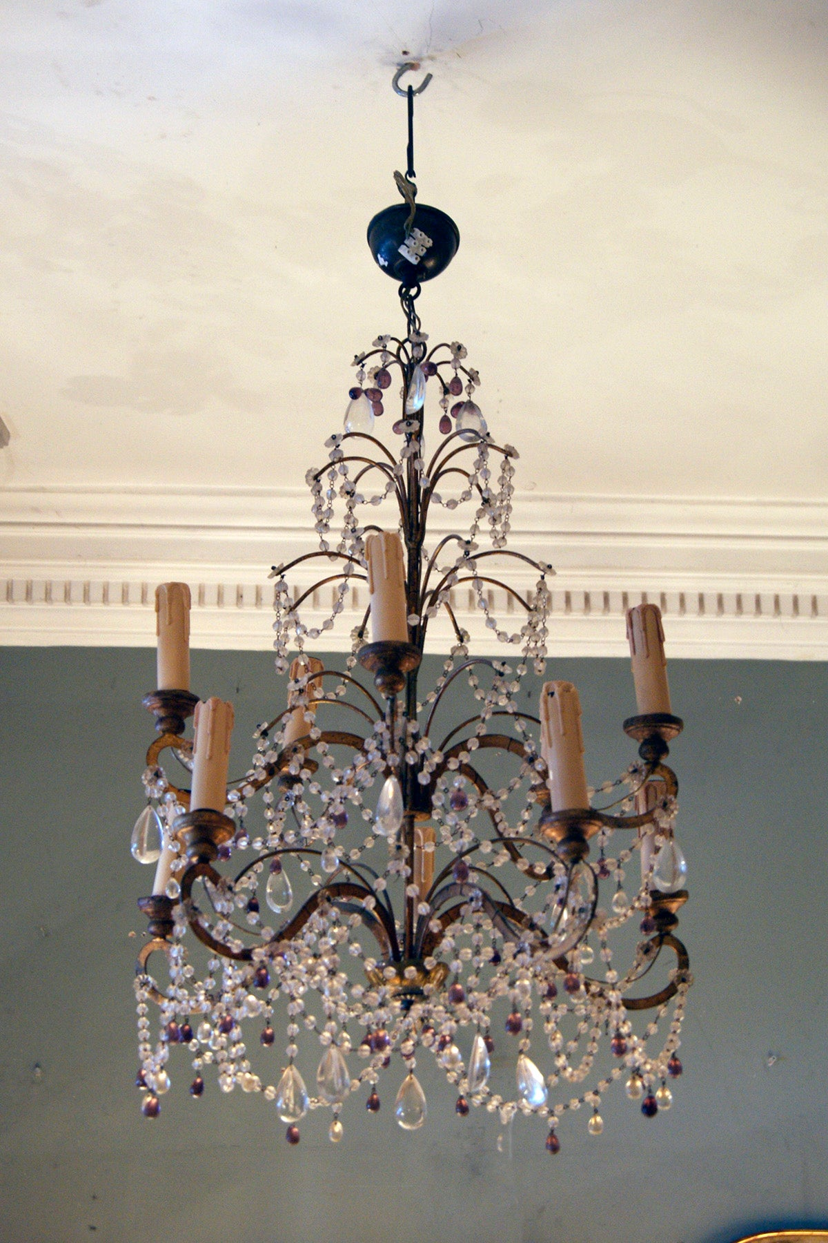 Classic Murano Purple Glass Drop Chandelier