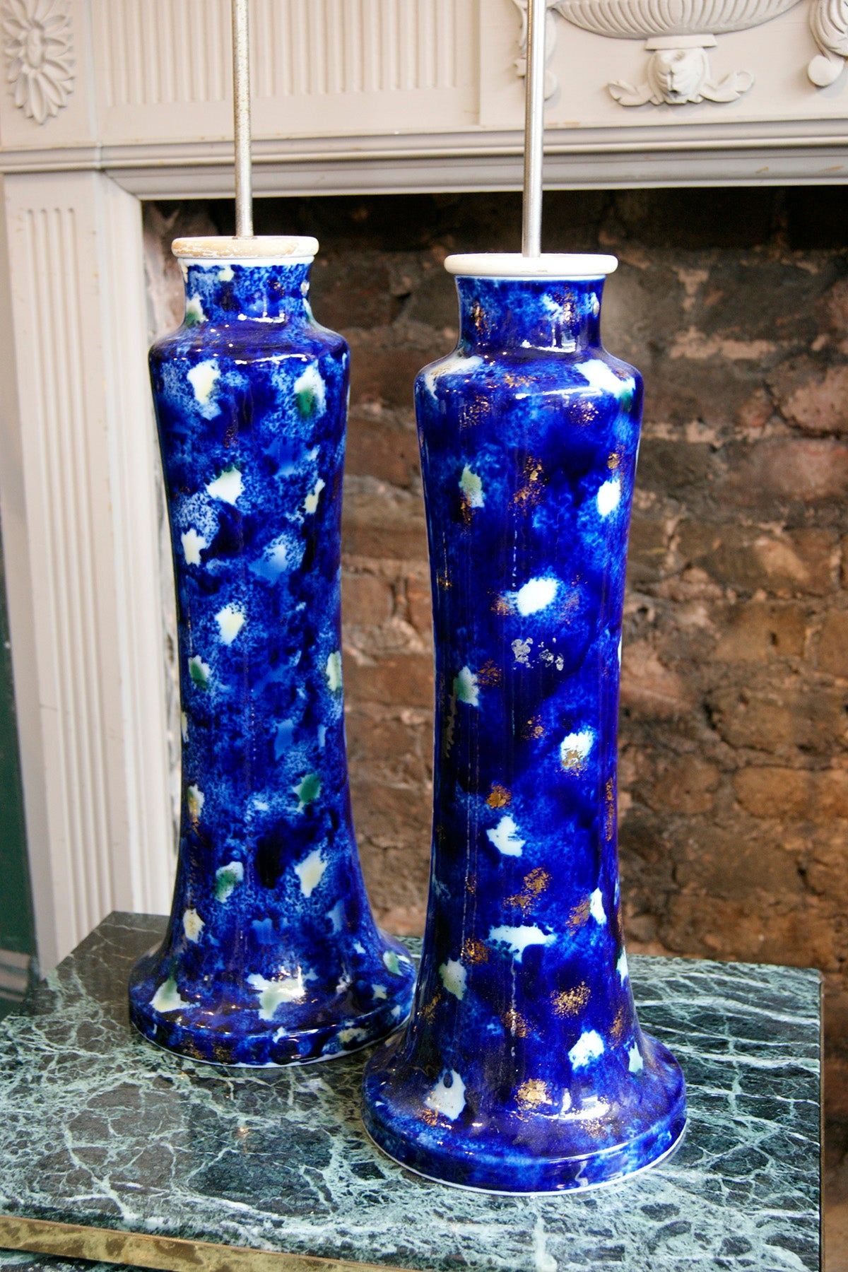 Pair of Blue Ceramic Lights