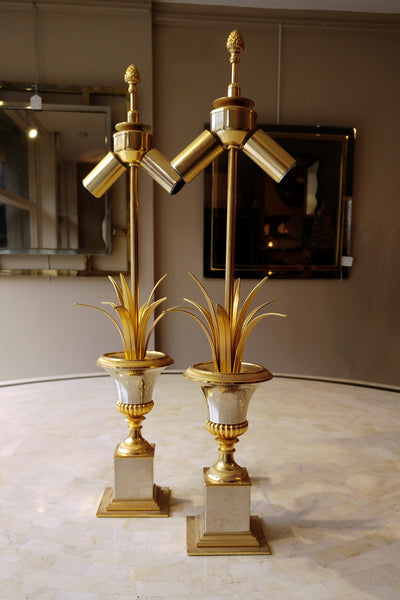 X Pair of Gold Urn Lamps