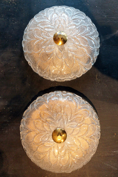 X Pair of Gorgeous Glass Wall Lights with Brass Detail
