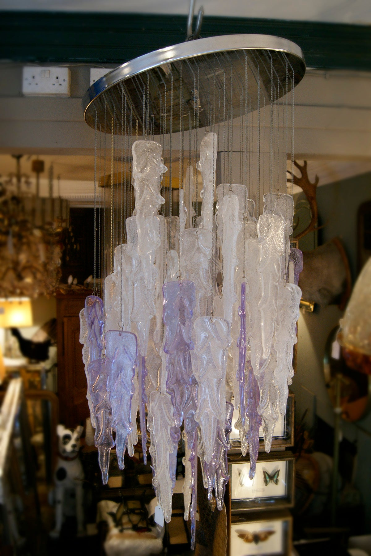 White And Purple Murano Glass Chandelier