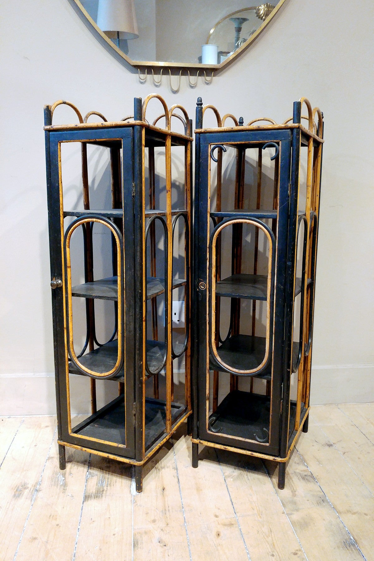 Pair of Bamboo Slipper Cupboards