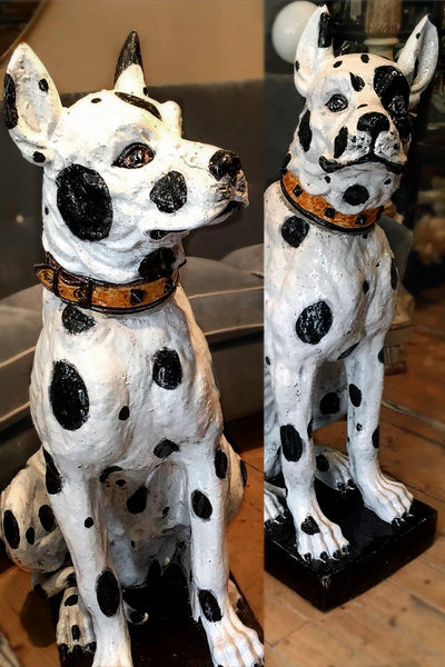 Imposing Pair of Italian Majolica Pottery Hounds