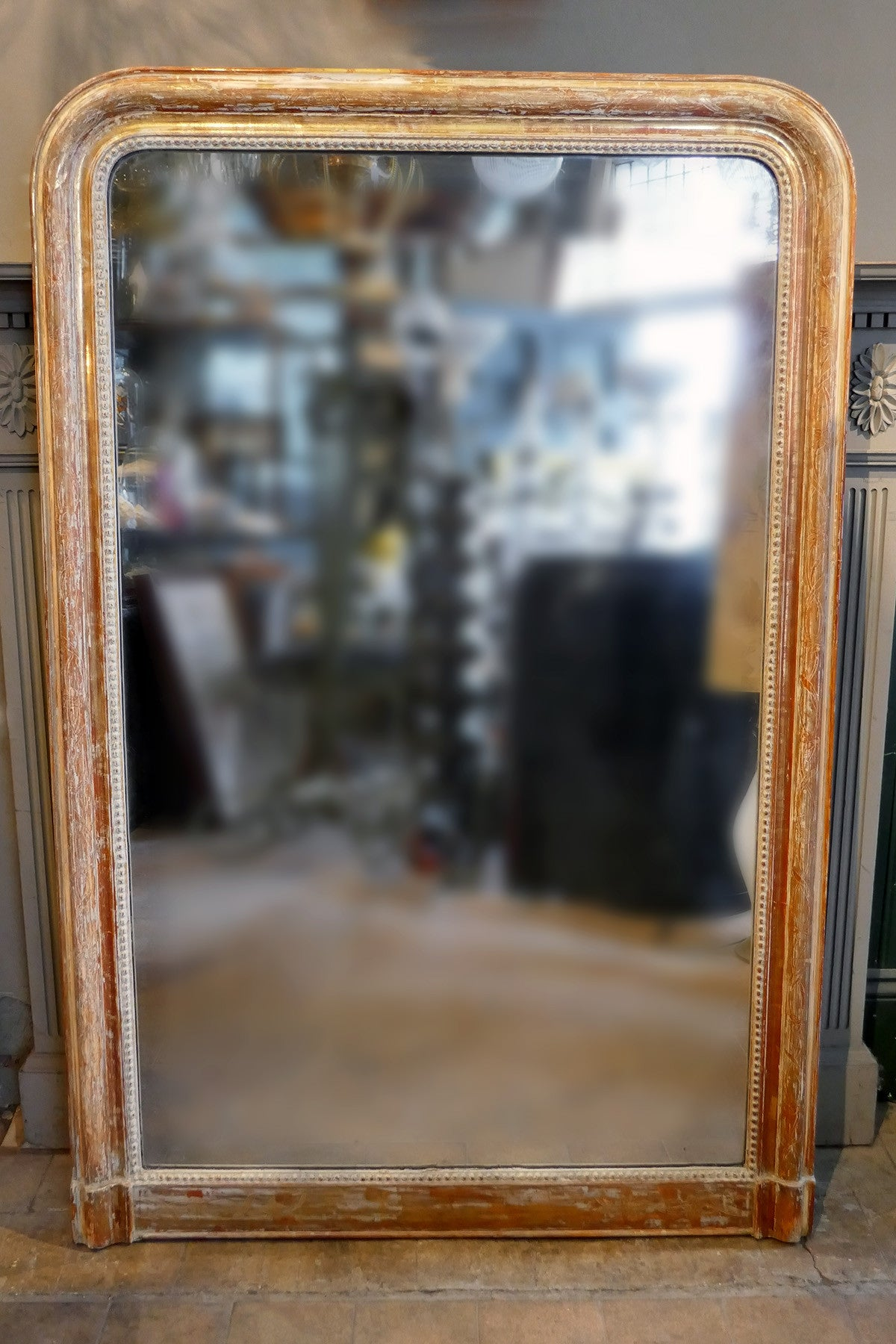 X Highly Distressed Antique French Wall Mirror