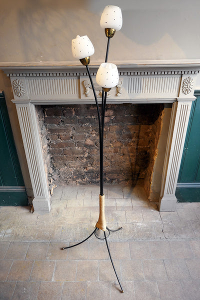 1950s Three Arm Floor Light with Glass Shades.