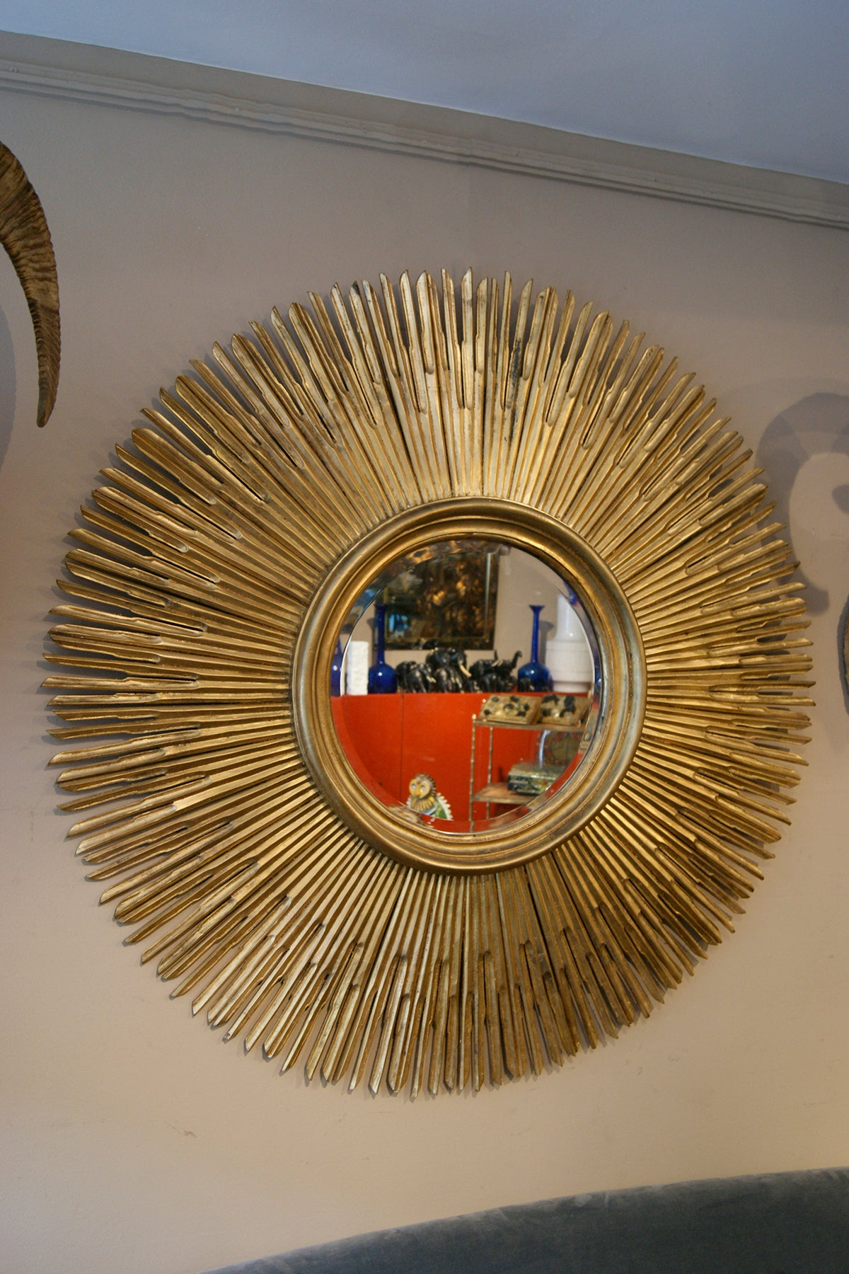 Giant Carved Wood Sunburst Mirror