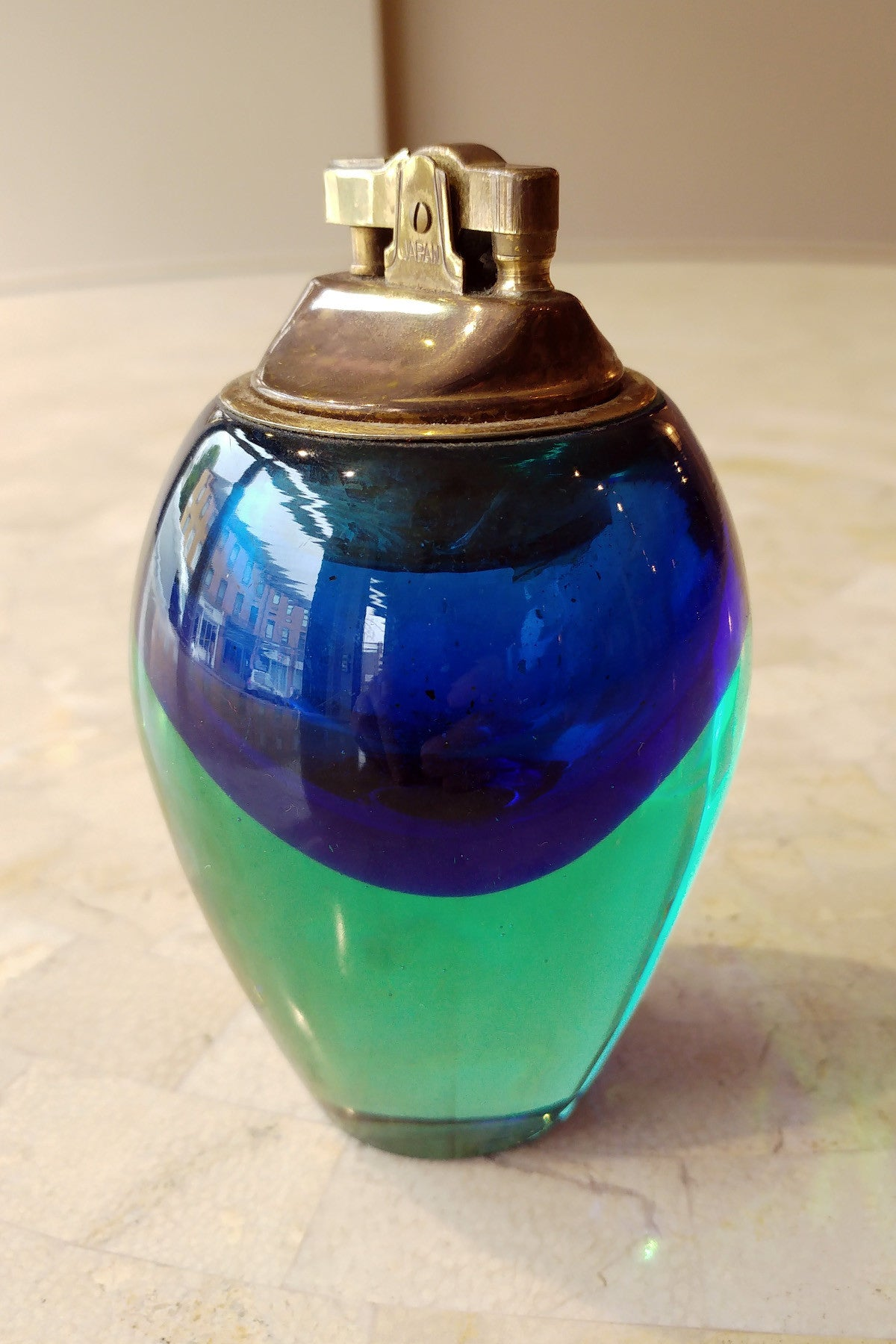 1970s Sea Blue Murano Glass Lighter