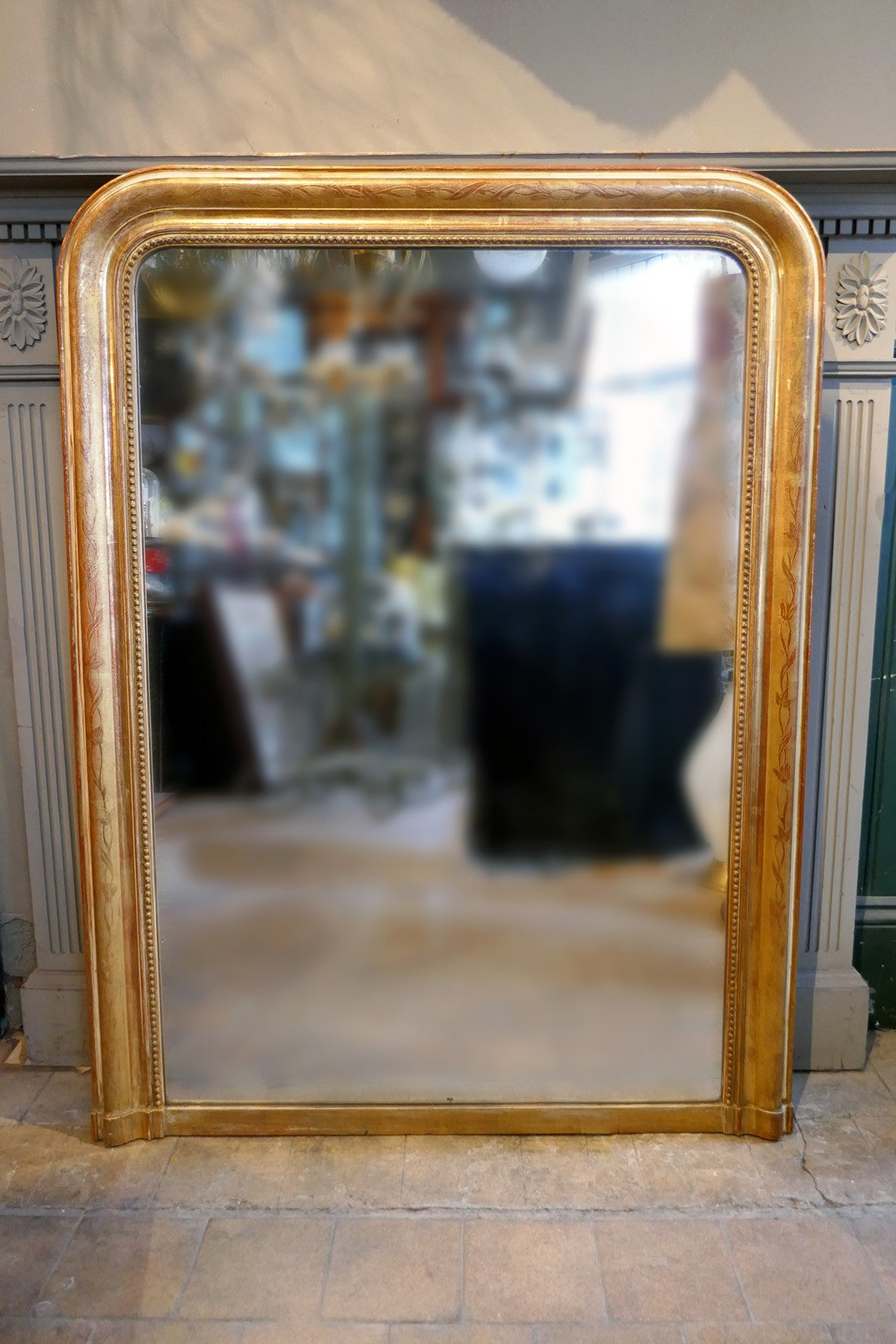 X Gold Wooden French Mirror, Distressed