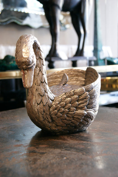 Cast Metal Swan Bowl by Mauro Manetti