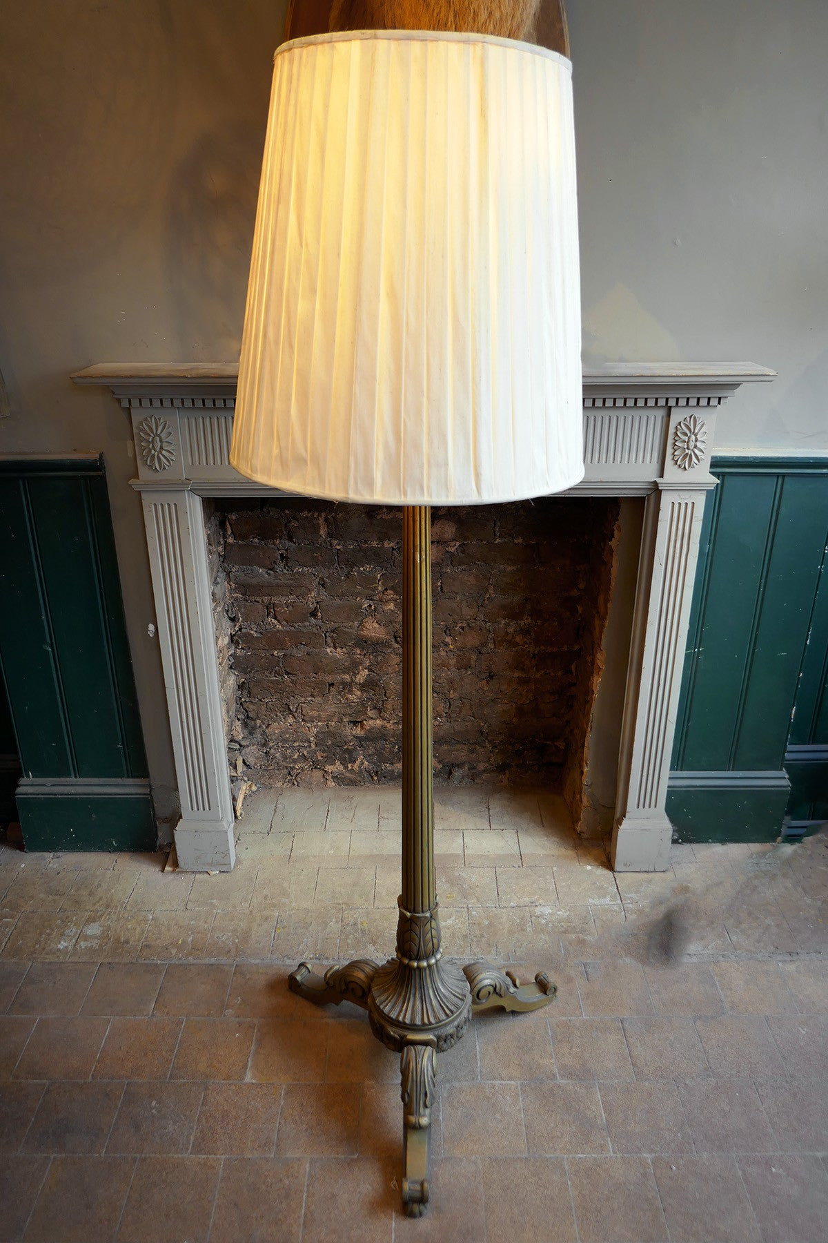 French Painted Carved Wood Standard Lamp circa 1920