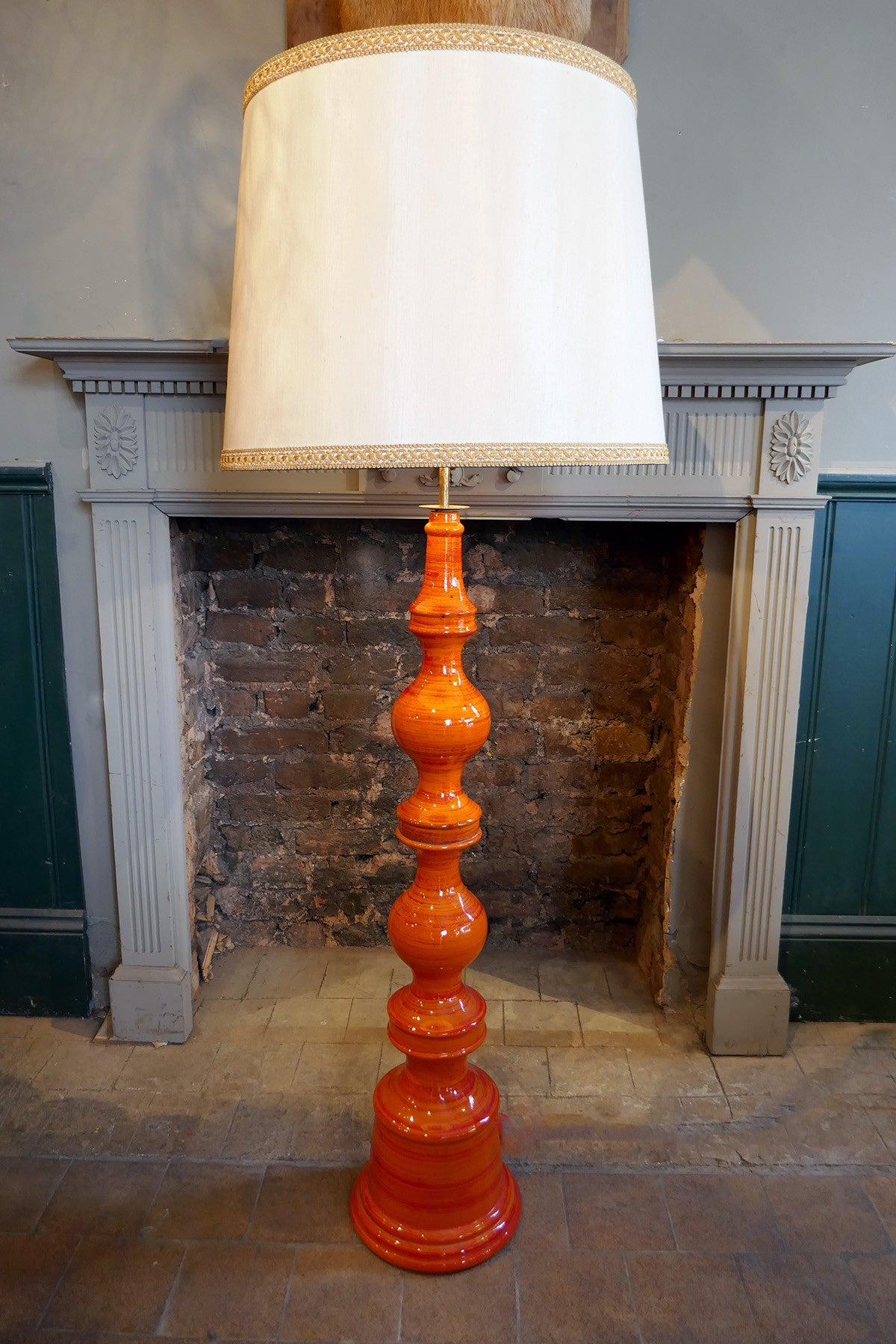 X Large Orange Ceramic floor Lamp .