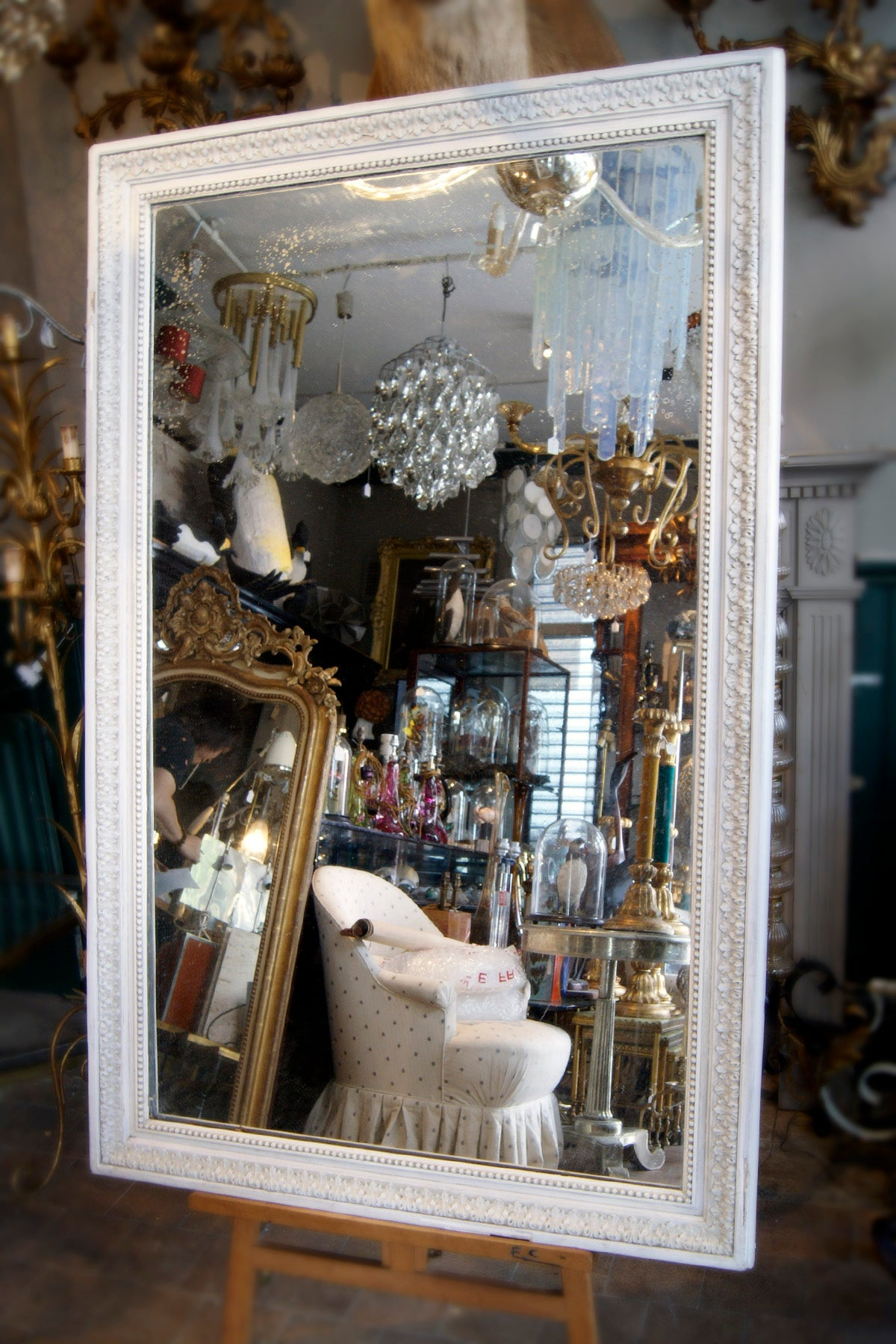 X Large White Mirror with Detailed Edging