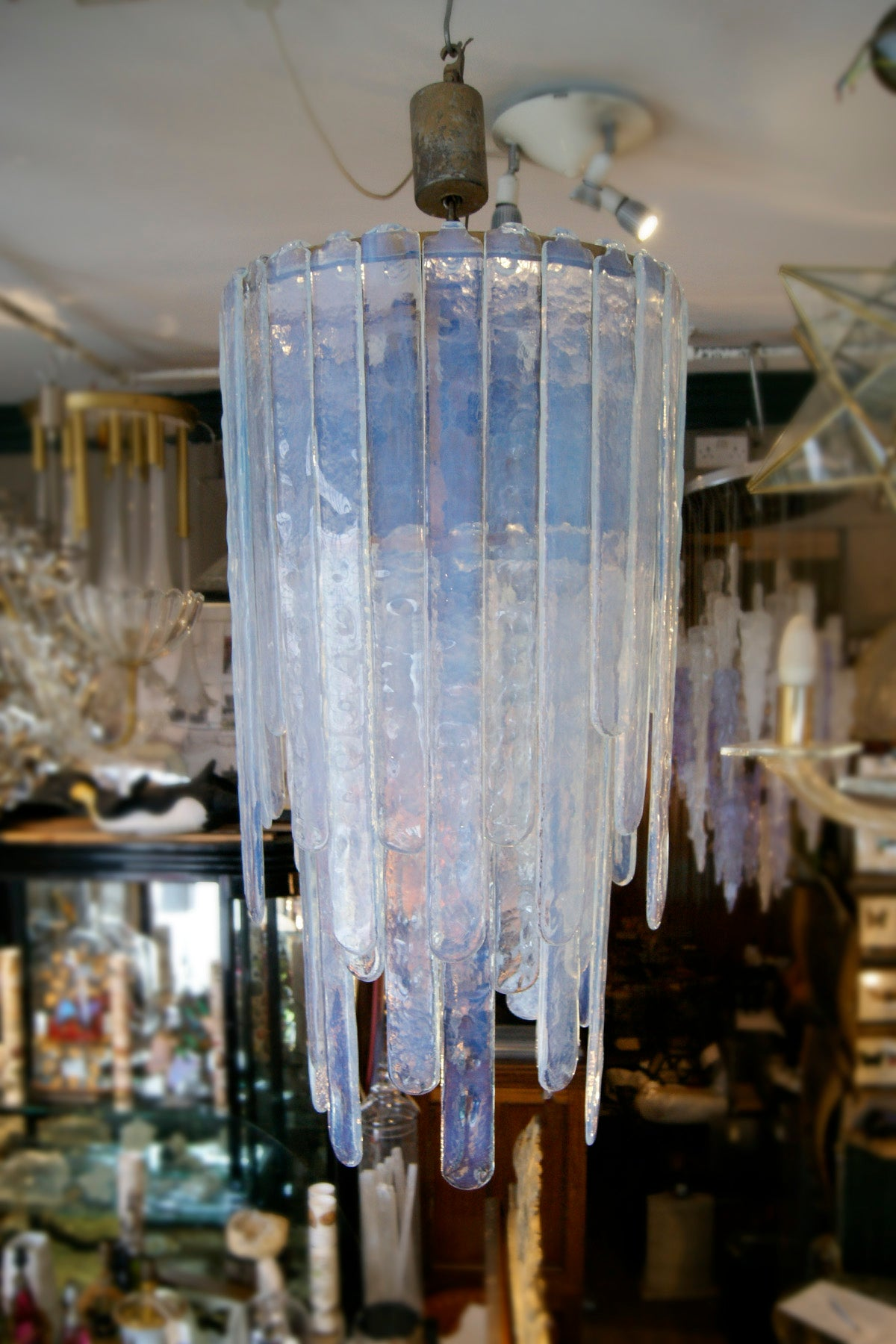 1970s opalescent Murano glass sword chandelier by Mazega .