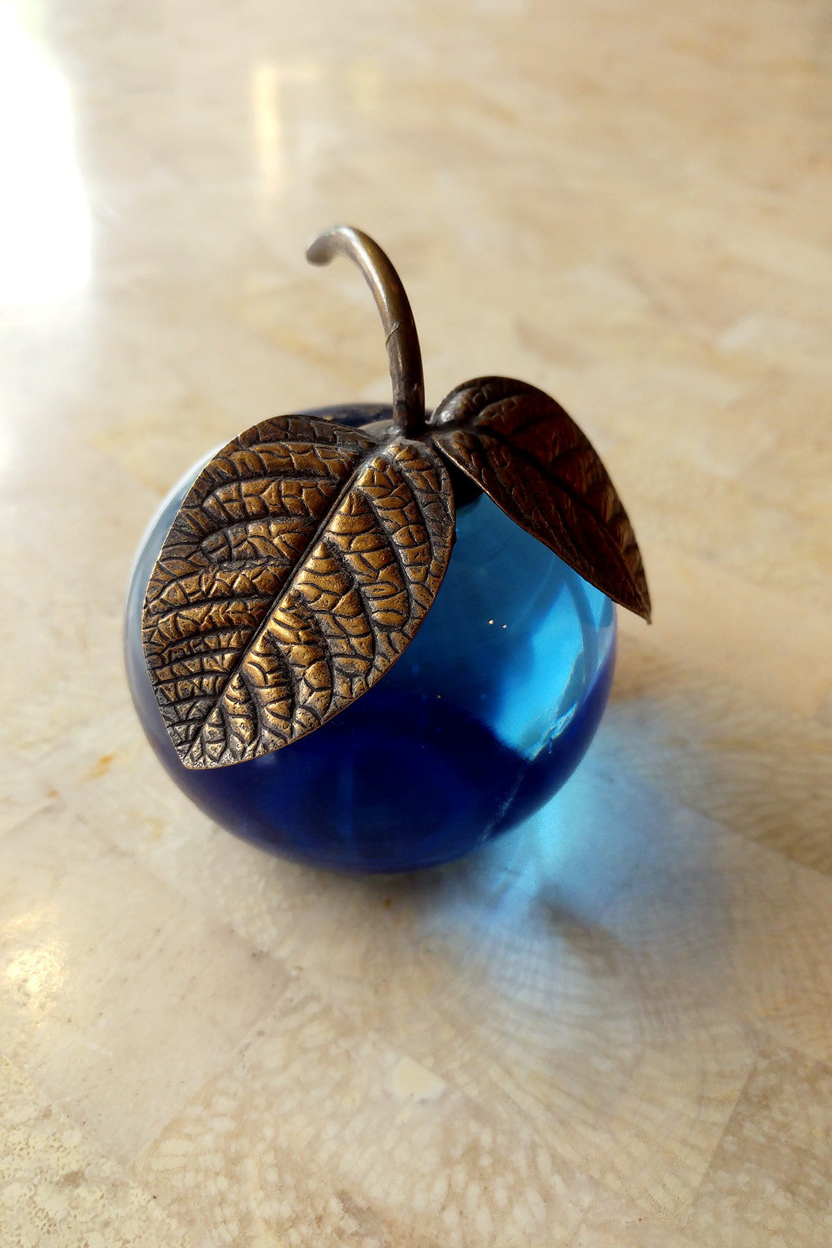 Brass and Blue Glass Apple Paperweight