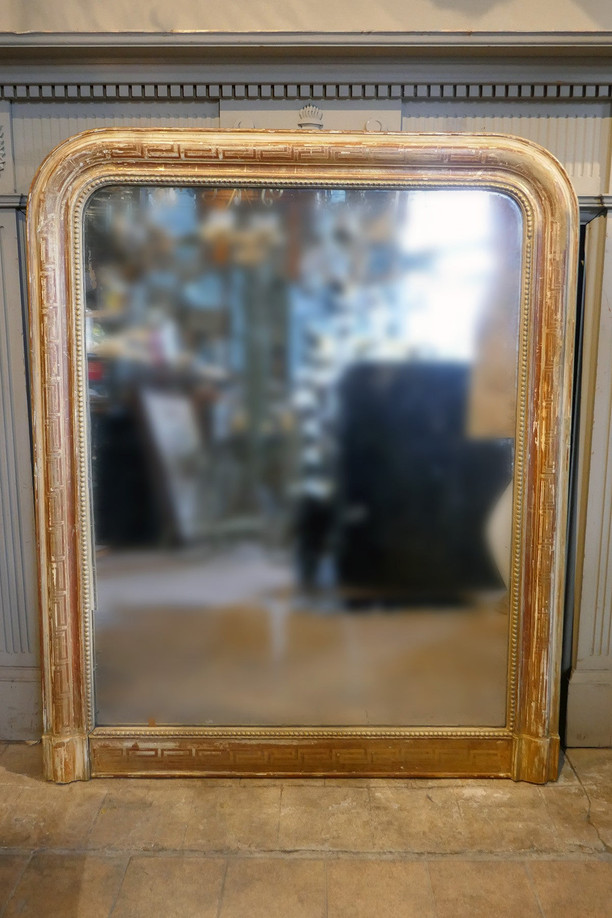 Decorative gilded French Mirror with  Geometric Patterning circa 1900