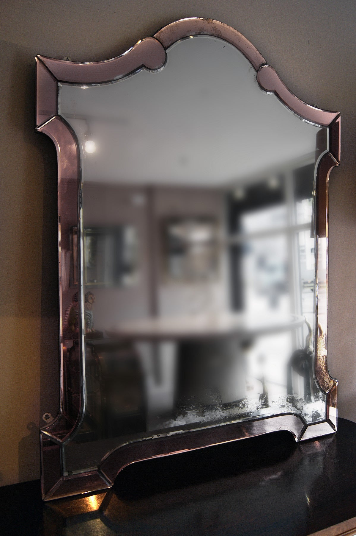 X Pair of 1920s Pink  Edged Mirrors English mirrors.