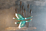 French 1950's Metal and ceramic Wall Sculpture Depicting Ducks in Flight .