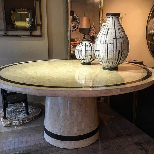 Stunning  large circular coral ,tortoiseshell and brass veneered table circa 1970.