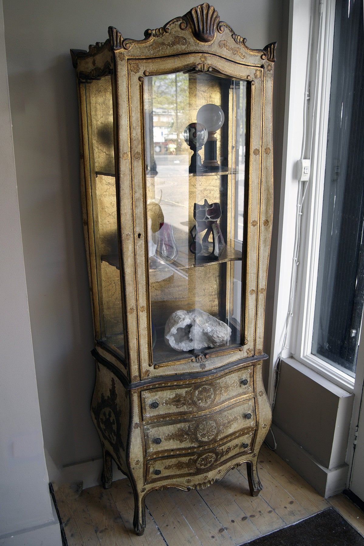 X Parcel Guilt Venetian Bow Fronted Display Cabinet with Glazed Upper Parts