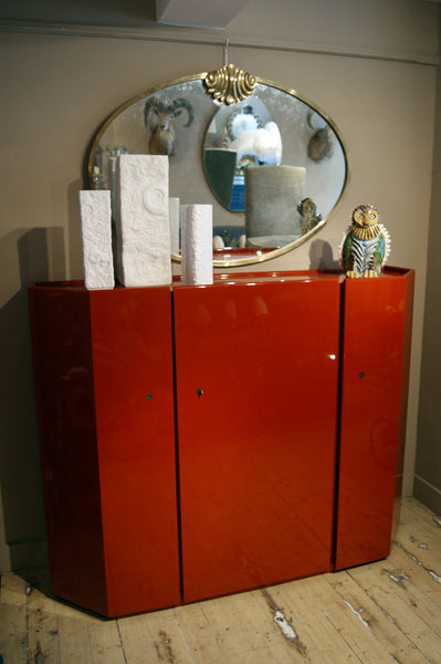 Decorative 1970s  Red Lacquer cocktail  Cabinet