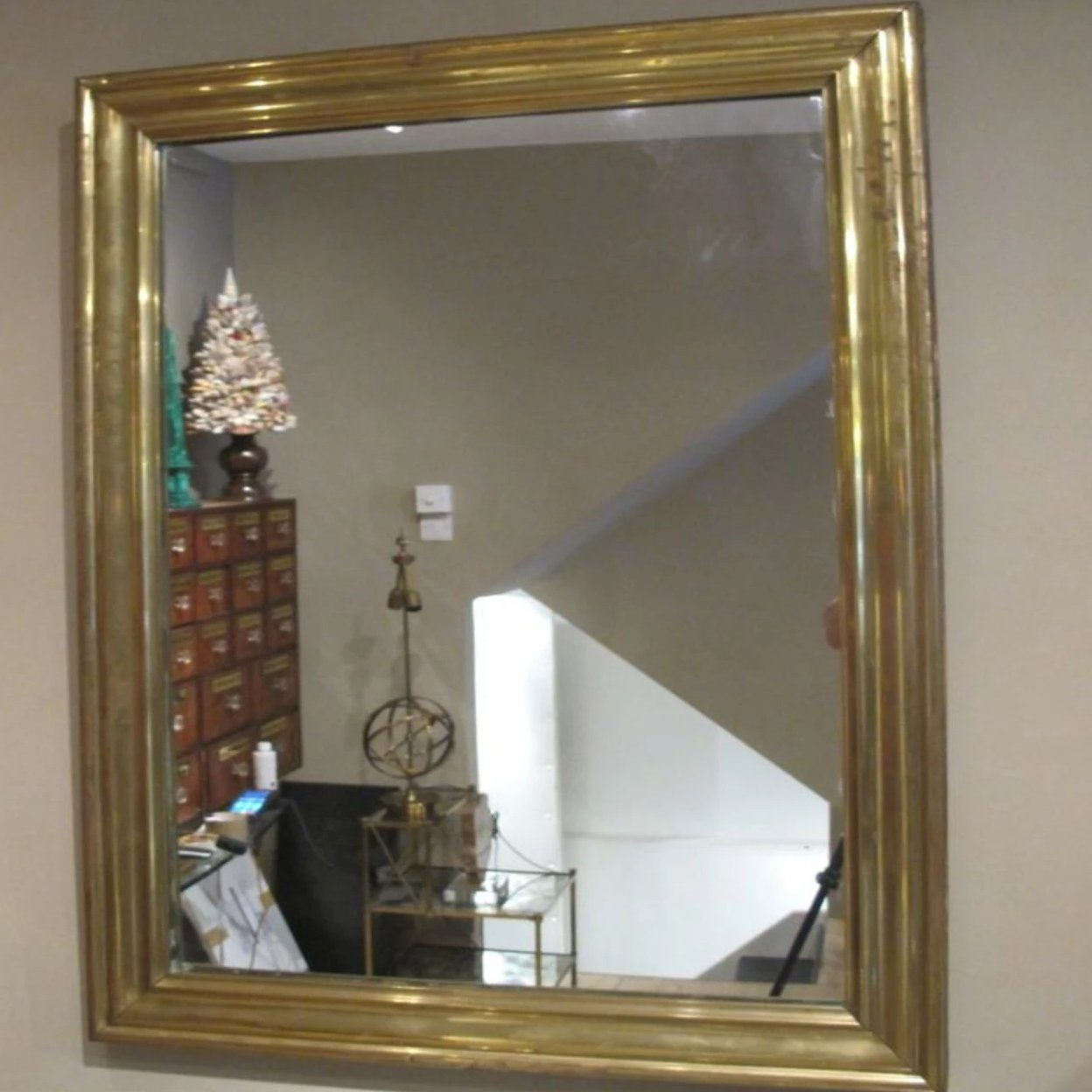 French Brass Framed 'Bistro' Mirror circa 1900