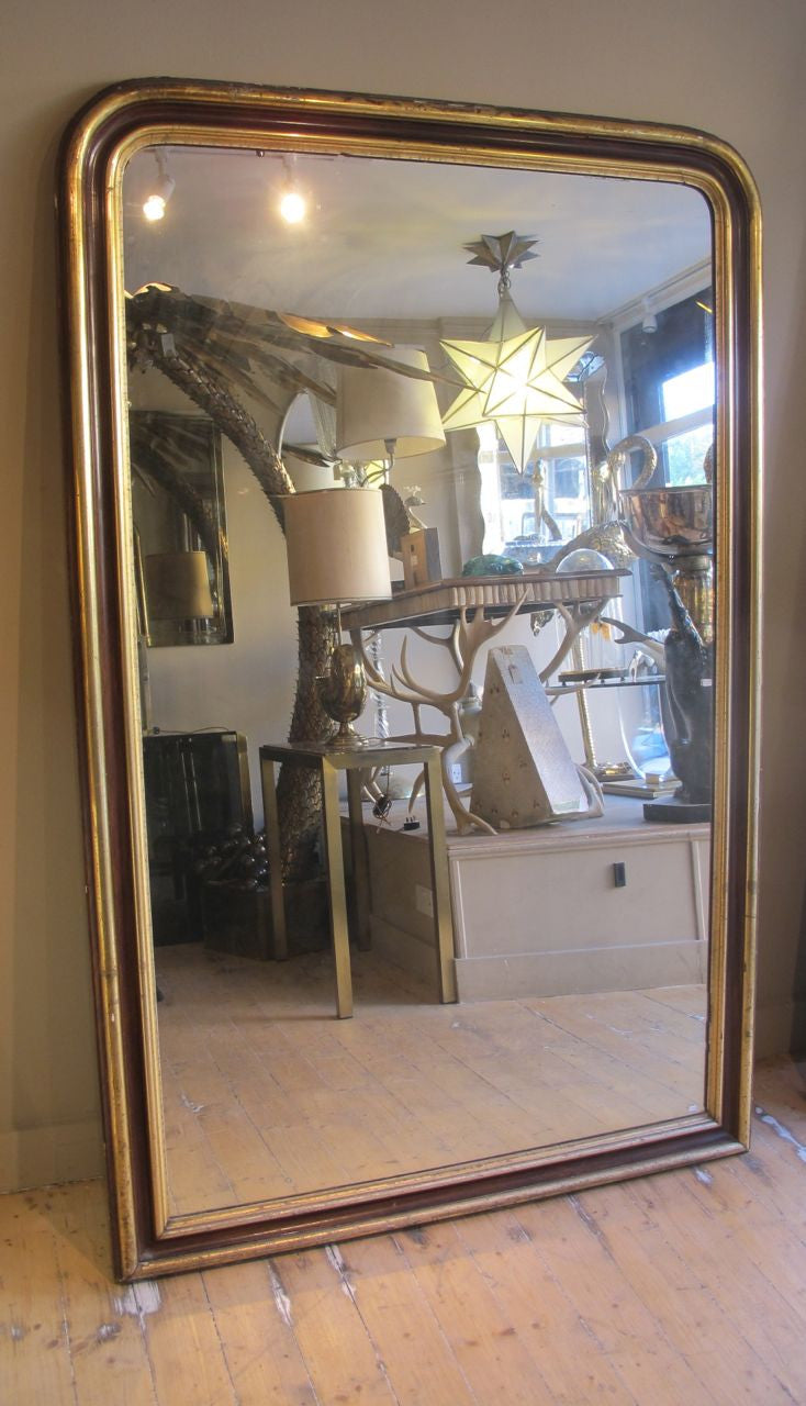 X Large Antique French Mirror with original Glass and part Gilt Frame
