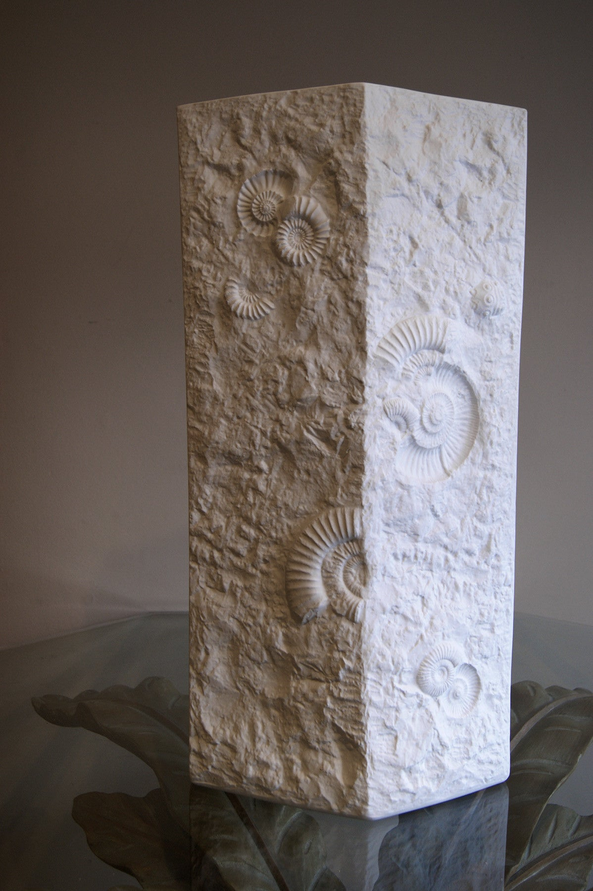 Unusually large 61 cm white ceramic vase cast with fossils circa 1960 signed A.K.
