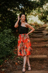 Kristi skirt Exclusive Orient Print on Tangerine