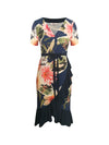 Brianna Frill Wrap Dress Spring Dahlias on Navy - ILAN LIFE SA