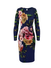 Ciara Dress-Morning Dew Blooms on Navy - ILAN LIFE SA