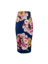 Nadia Pencil skirt-Morning Dew blooms on Navy - ILAN LIFE SA