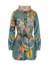 Chelsey Waterproof Parka-Modern Line Art on light Teal - ILAN LIFE SA