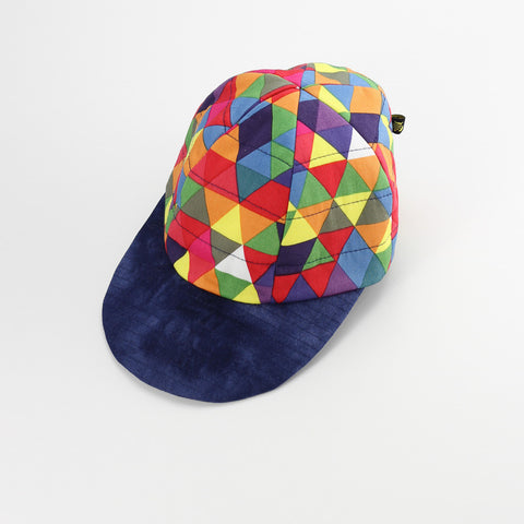 Geometric Rainbow Hat (Navy brim)