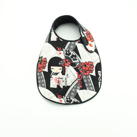 Reversible Silver Asian Dolls Newborn Bib