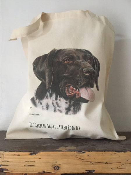 Fairtrade Natural Canvas German Shorthaired Pointer Tote Bag