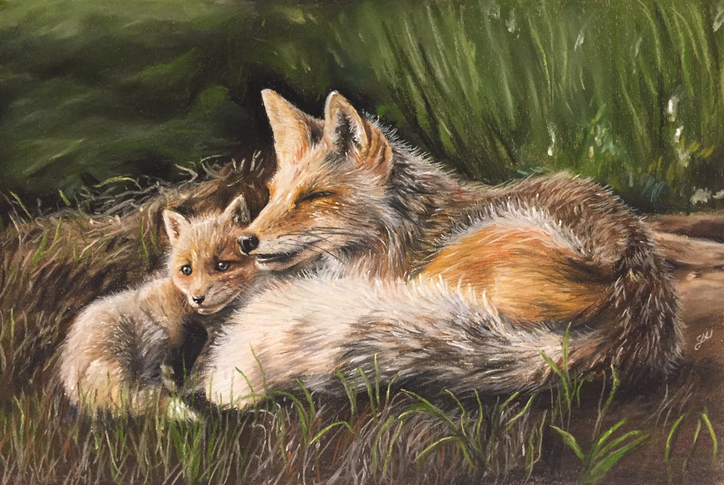 Red Foxes Original Pastel Painting - SOLD